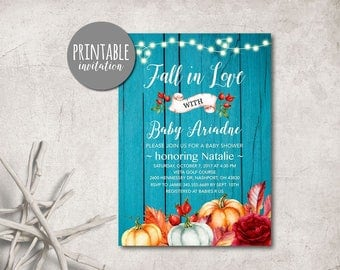 Pumpkin Baby Shower Invitation Fall Baby Shower Invitation Fall in love floral Baby shower Invitation Autumn baby shower invitation rustic