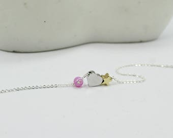 I love you to the moon and back.Sun Star Jewelry,Pink opal jewelry. Minimalist Jewelry, Sisters  Mother Daughter Gift for Her,Babe Shower