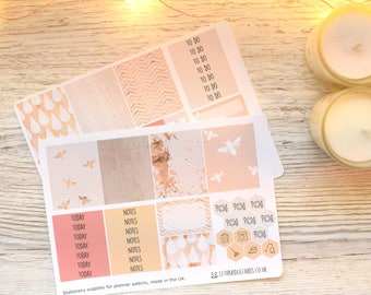 Peachy Bees Erin Condren Compatible Planner Kit; Weekly Kit; Planner Stickers; Bullet Journal; Mini Kit; Bee Stickers; Spring Weekly Kit
