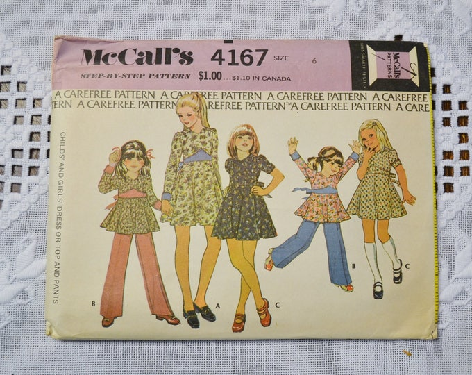 Vintage McCalls 4167 Sewing Pattern Girls Dress Top Pants Size 6 Crafts  DIY Sewing Crafts PanchosPorch
