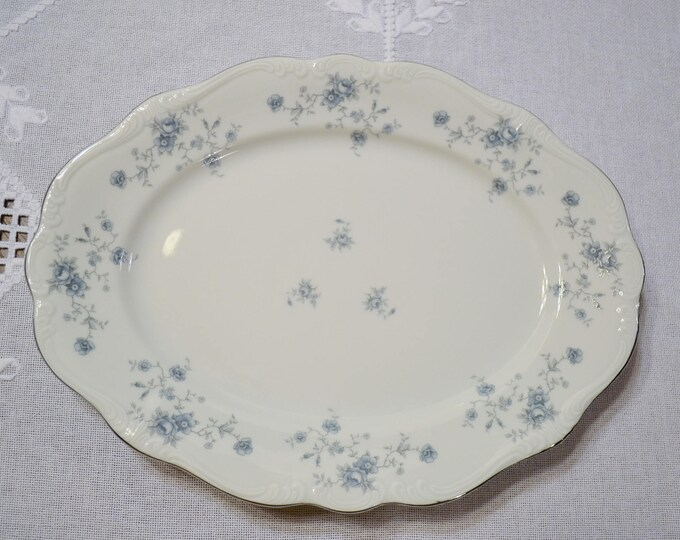 Vintage Haviland Blue Garland Oval Serving Platter 13 inch Blue Floral Bavaria Johann Haviland Replacement PanchosPorch