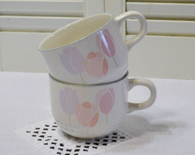 Vintage International Tulip Cup Set of 2 Pastel Pink Peach Purple Stoneware Replacement Made in Japan PanchosPorch