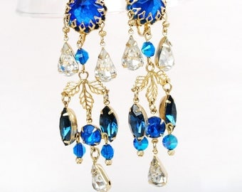 Stunning Rhinestone Chandelier Earrings, Vintage Clip Ons, Estate Jewelry, Blue, Silver, Gold, Great Condition, Moving Sparkle