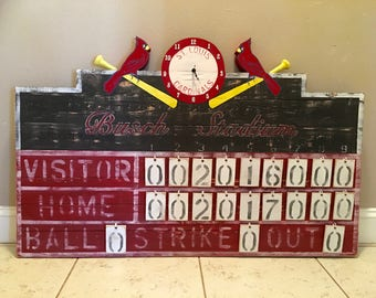 St Louis Cardinals Sports Rustic Baseball Team Scoreboard Vintage Style