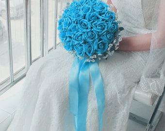 Tiffany White Blue 7 Colors Wedding Bouquet Turquoise Flowers Bridal Centerpieces Decorations Silk Ribbon
