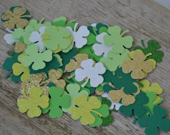 """St. Patrick's Day,Card  Confetti, Shamrock Punches, Shamrock Cut Outs, Scrapbooking, Embellishments (1"""") 
