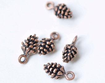 20 pcs Antique Copper Acorns Pinecone Charms Pendants 5x15mm A8979