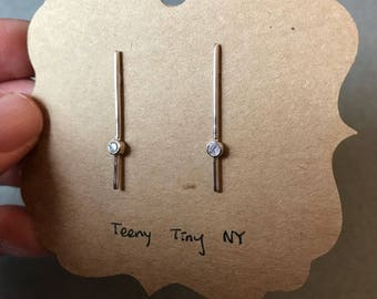 Silver Long Stick With Tiny CZ Stud Earrings - Sterling Silver
