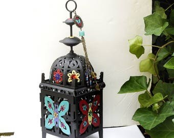 Moroccan Candle Lantern FREE SHIPPING Hand Painted Colorful Butterfly Boho Decor