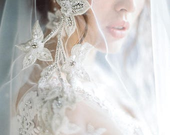 Lace Bridal Veil, handmade embroidery