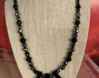 "Black beaded 16"" necklace"