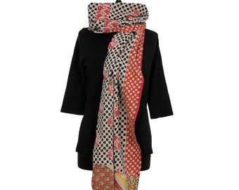 KANTHA SCARF - Black with Red on Off White. Reverse Turmeric, Off White and Green - Unique, one of a kind