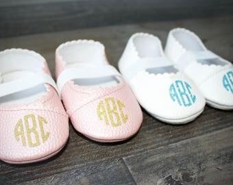 Glitter Monogrammed Baby Girl Ballet Flats First Walker Shoes Newborn Baby Girl Shoes