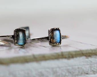 Labradorite Ring Alternative Engagement Ring Silver Blue Labradorite Ring Electroformed Ring Silver Ring Gemstone Ring Fine Silver Ring