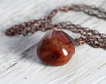 Fire Agate Necklace Electroformed Copper Necklace Stone Pendant Electroformed Jewelry Large Gemstone
