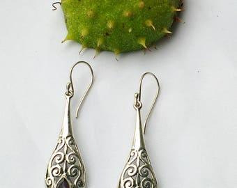 Silver earrings amethyst gemstone long dangle sterling EARRINGS Silver 925. Fashion jewelry