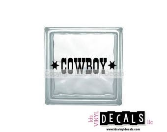 COWBOY - Country Western Vinyl Lettering for Glass Blocks - Craft Decals
