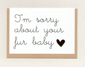 I'm SORRY about your FUR BABY . pet sympathy card . pet bereavement . pet loss . dog cat animal . simple modern . greeting card . australia