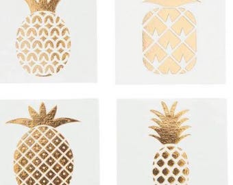 36 Gold Foil Pineapple Temporary Tattoos Tropical Party Favors Bridal Shower Bacholerette Party - Flash Tattoos - Body Art