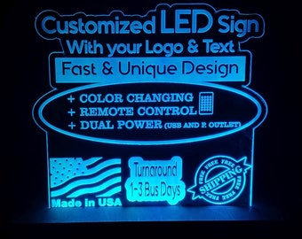 CUSTOM RGB Custom Acrylic Leds Sign Laser Engraved - Desk Model - Multiple Colors - Remote Control - 3  sizes 6x6/8x8/12x12 FREE Shipping