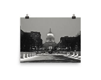 Poster - Madison, WI - Monona Terrace - Black & White Photo Print of The Capital at Dusk with First Snow Fall of the Year - Various Sizes