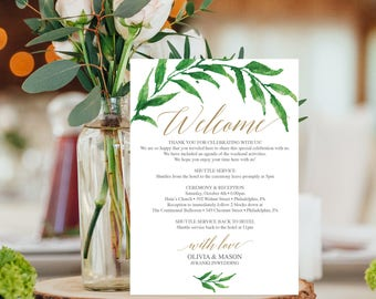 Wedding Itinerary Template - Wedding Welcome Bag Printable Itinerary - Welcome Letter - 5x7 Wedding Agenda - DIY Instant Download - Greenery