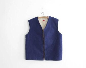 Vintage Work Vest - Moleskin/Shearling - Zip Up - Made In France