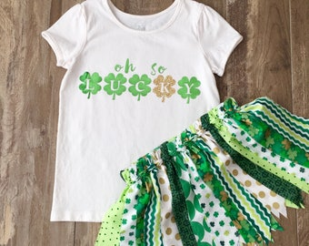 "Girls St. Patrick's Day Outfit, Girls ""Oh So Lucky"" Outfit, St. Patrick's Day Shirt and Green Fabric Tutu Skirt, Size 5T, Ready to Ship"