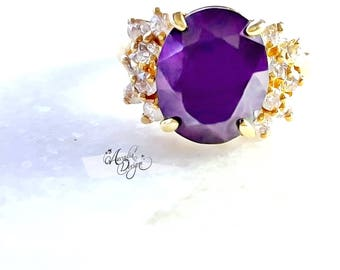 Amethyst Gemstone and Quartz Golden Ring. February Birthstone Purple Stone Jewelry Victorian Style Violet Oval Gem Ring | Bridesmaid's Gift