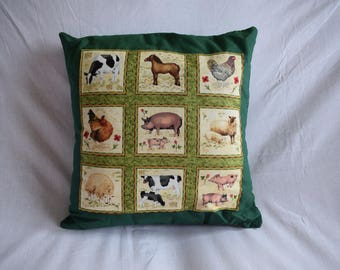 Farm Animals Cushion Cover, Farmyard Cushion, Country Life Cushion, Farm Cushion, Farm Kitchen Cushion, Farm Animals Cushion, Farm Animals