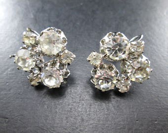 Vintage Faux Diamond Rhinestone Silver Tone Cluster Earrings Mid Century Signed Star Austria Screw Back 1950's