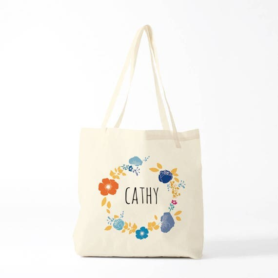 "Canvas bag, boho totebag, custom gift, your name, model ""Cathy"", bachelorette party, gift bridesmaids."