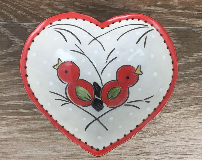 Featured listing image: Heart Shaped Bowl with Red Birds