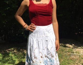 White cotton skirt, Boho skirt,embroidered skirt,beaded sequin,skirt, blue,small, medium