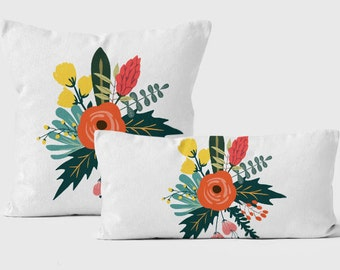 Decorative Pillow For Couch, Throw Pillow Cover 18x18, Rose Pillow, Lumbar Pillow Cases, Pillow Cases Handmade, Bouquet Cushion