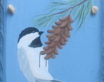CHICADEE/PINECONE Slate, blue background