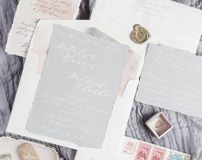 SAMPLE White Ink Calligraphy Natural Modern Wedding Invitation in Grey and Ivory — Envelope Liner, RSVP & Address Printing