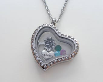 Floating Charm Heart Locket Necklace, Birthstones Necklace, Living Locket, Mother's Necklace, Daughter, Grandma Necklace, Stainless Steel