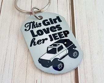 This Girl Loves Her JEEP Sublimated Key Chain | Gift for Her | Girlfriend Gift | Gift for Daughter or Mom | Name or Phrase on the backside