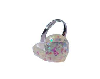 heart glitter ring
