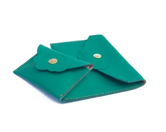 Emerald leather pouches for organize your bag Passport holder, cards holder in emerald green leather with a cloudlet Gift for her