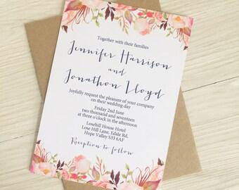 Blush flower wedding invitation - Blush and navy wedding invitation - Rustic wedding invitation