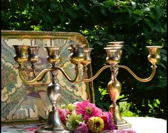 Vintage Candelabras / Tarnished Candelabras / DIY Tea Party Candelabra / Wedding Decor / Shabby Chic