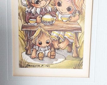"Jody Bergsma Limited Edition Print Lithograph Matted 5"" x 7"" Mom Grandma House 1981"
