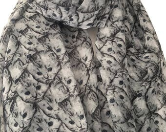Cats Scarf , Grey Cat Faces Print , Gray Kitten Scarf , Kittens Shawl Wrap
