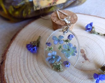 Real Lilac Pendant flower jewelry Lilac flower Green Leaves Botanical Jewelry Eco Resin Terrarium Eco resin 925 stamped silver plated chain
