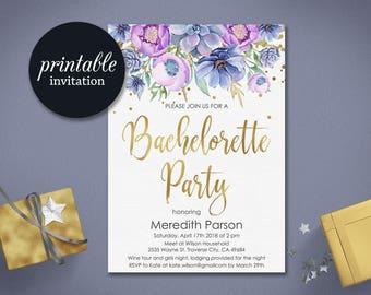 Bachelorette Party Invitation Hens Party Invitation Floral Bachelorette Invitation, Printable Bachelorette Invitation gold purple lilac