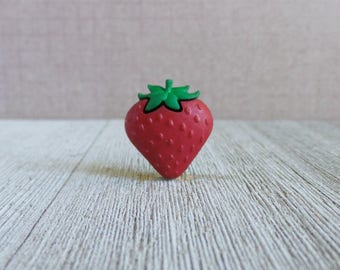 Large Strawberry - Fruit - Summer - Red - Festival - Lapel Pin