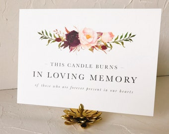 Wedding Remembrance Sign | This Candle Burns in Loving Memory | Printable
