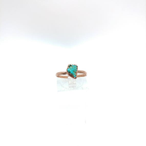 Raw Crystal Ring | Raw Turquoise Ring | Copper Ring Sz 7.25 | Turquoise Nugget Ring | Rustic Womens Ring | Natural Turquoise Ring